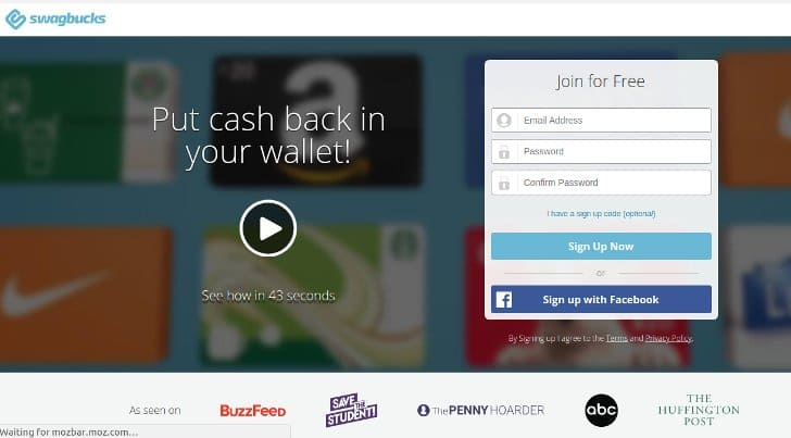 paid online from swagbucks survey sites